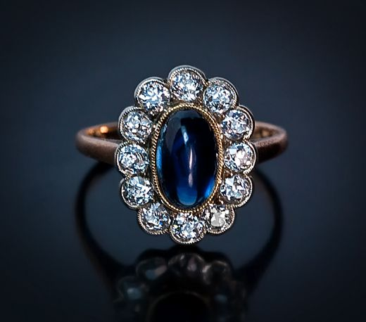 Engagement Rings. Vintage old cut diamond and cabochon sapphire cluster ring. Russian rings for sale.