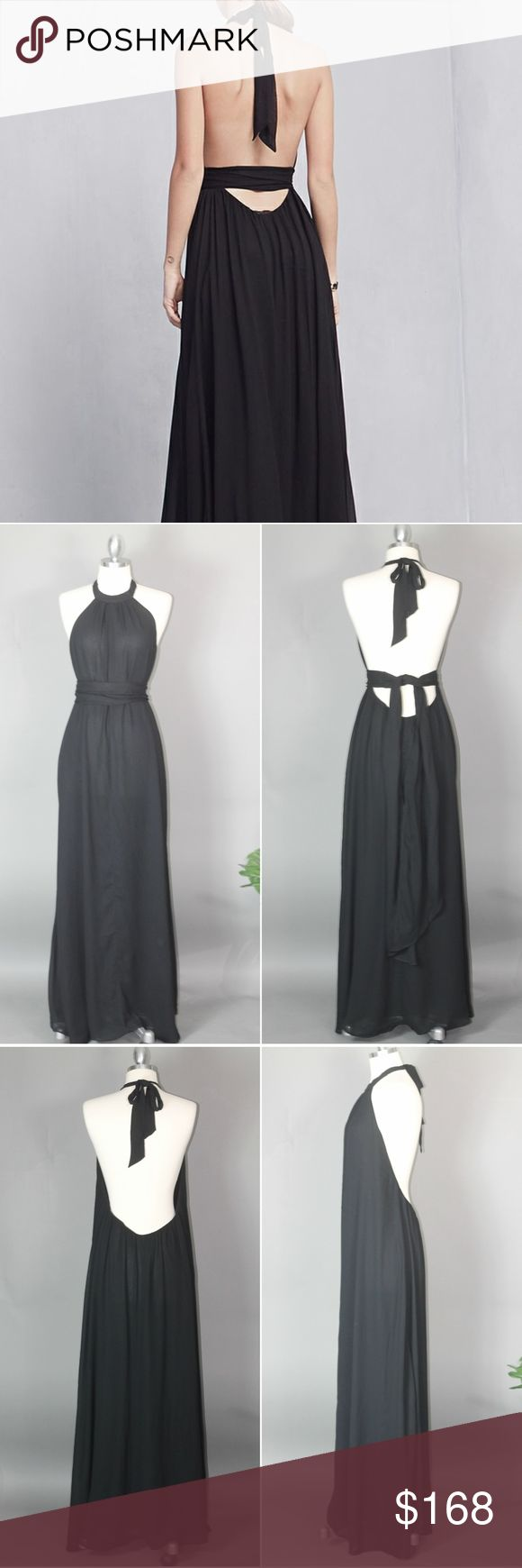 """✂ Reformation Black Halter Maxi Gown SALE Reformation dramatic backless tie neck gown with matching chiffon sash  size xs/s approx 57"""" long (feel like it may have gotten 1-2"""" shorter when washed which was better for me) preowned- worn a couple of times, hand laundered. The fabric has a couple of minor imperfections - some puckering at the seams. 1 or 2 v mild discolorations (see pic) I only noticed in certain light. bit of pilling/rubbing -due to nature of this fabric. Wrinkles easily. Such…"""