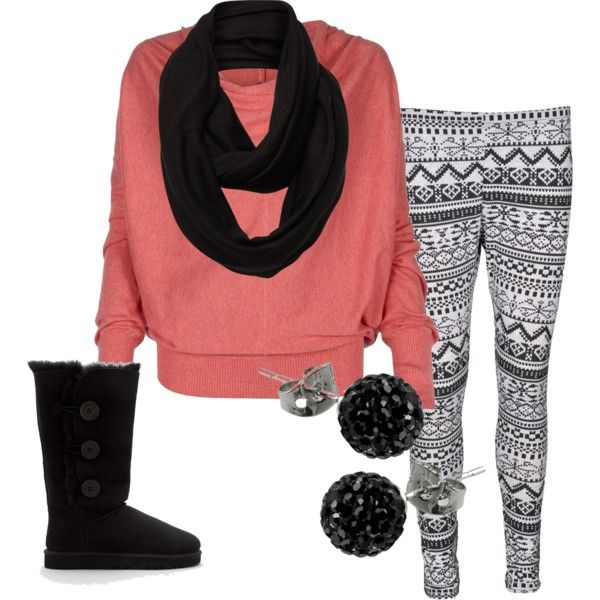 Love the leggings & scarff with the boots! Pus it all works out with a little bit of color!