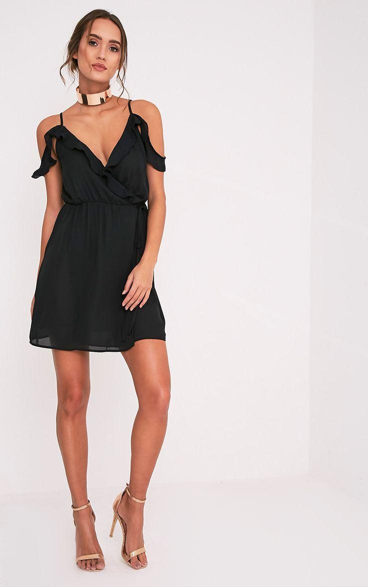 Black dress goals - Bianca Black Cold Shoulder Frill Detail Swing Dress Image 5