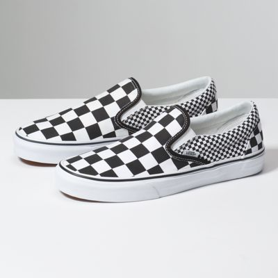 a1333aff2a6 The Mix Checker Classic Slip-On features sturdy low profile slip-on canvas  uppers with the iconic Vans checkerboard print