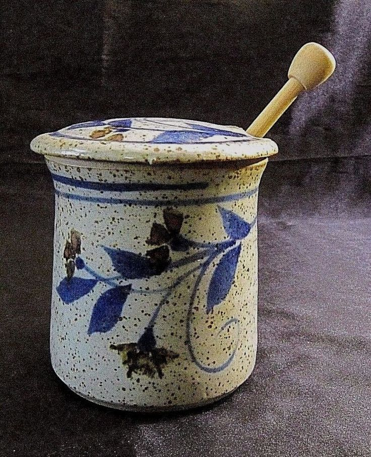 GLAZED ART POTTERY HONEY POT w/ Notched Lid & Wooden Honey Wand - Pottery Stamps #Eclectic $26.99