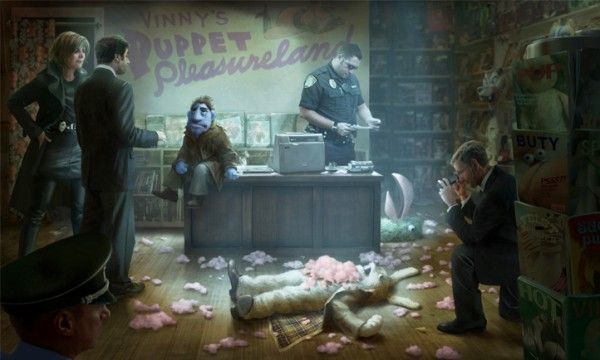 "Concept art for the upcoming comedic puppet film noir movie, ""The Happytime Murders"""