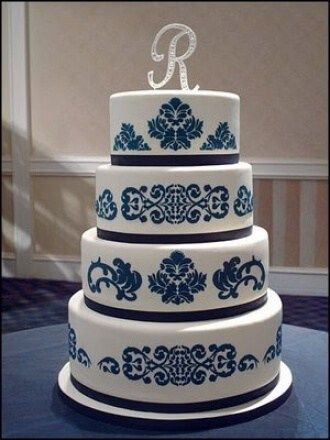 32 Stunning Dark Blue Wedding Cakes Ideas