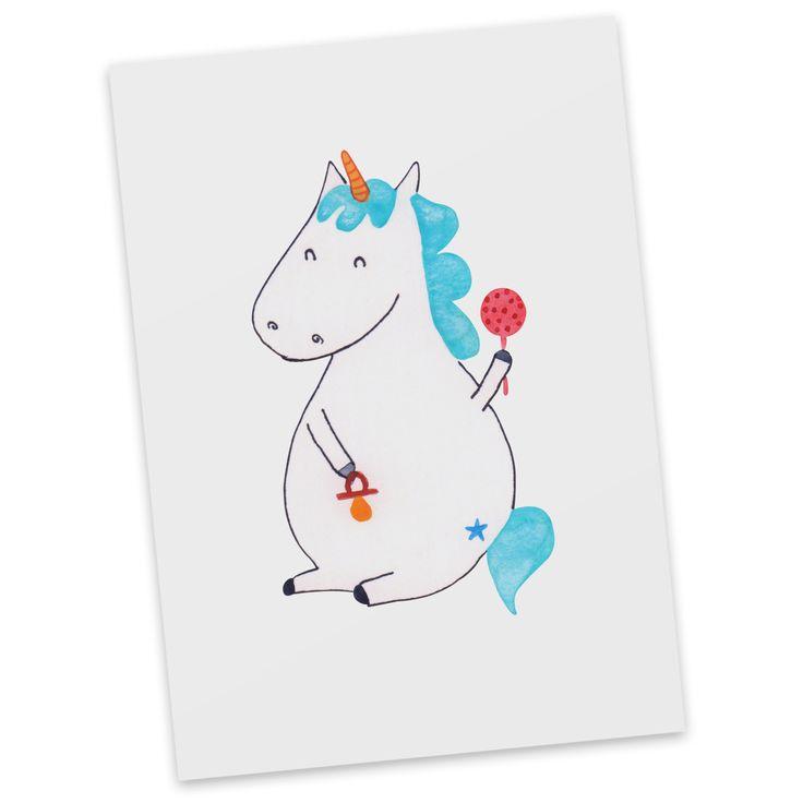 Postkarte Einhorn Baby aus Karton 300 Gramm  weiß - Das Original von Mr. & Mrs. Panda.  Diese wunderschöne Postkarte aus edlem und hochwertigem 300 Gramm Papier wurde matt glänzend bedruckt und wirkt dadurch sehr edel. Natürlich ist sie auch als Geschenkkarte oder Einladungskarte problemlos zu verwenden. Jede unserer Postkarten wird von uns per hand entworfen, gefertigt, verpackt und verschickt.    Über unser Motiv Einhorn Baby  Unser kleinstes Einhorn, das Baby-Einhorn, ist das perfekte…