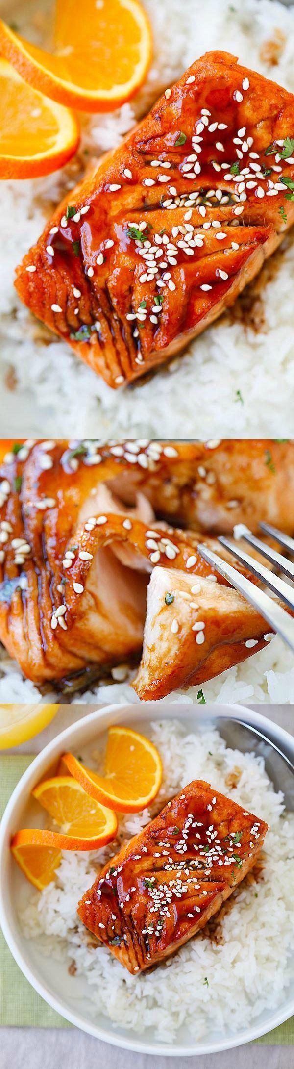 Salmon with Orange Teriyaki Glaze – the easiest and tastiest salmon you'll ever make. Juicy and delicious salmon with orange teriyaki sauce | http://rasamalaysia.com