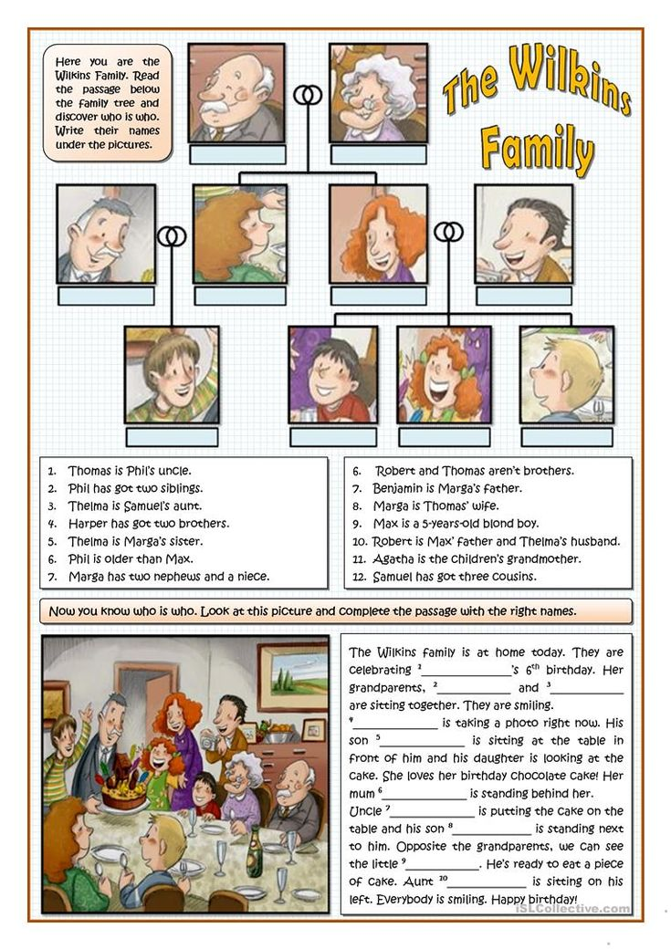 THE WILKINS FAMILY worksheet - Free ESL printable worksheets made by teachers