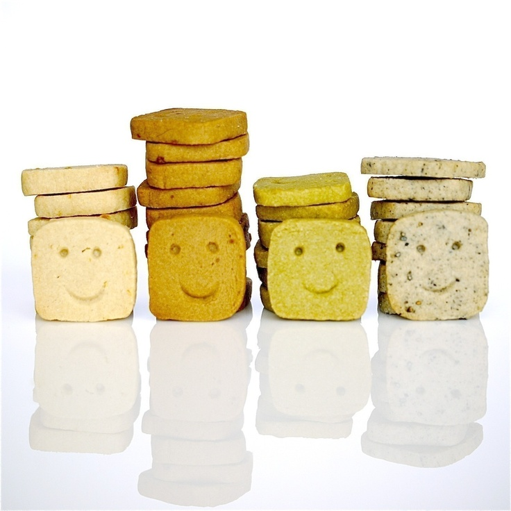 Assorted Smiley Icebox Cookies in 4 Flavors - Lemon, Black Sugar, Black Sesame, Matcha (Green Tea).