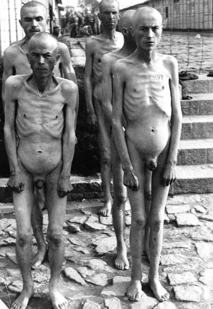 """Tattooed and emaciated inmates at Mauthausen-Gusen concentration camp in Upper Austriastand at attention. The two main camps, Mauthausen and Gusen I, were labelled as """"Grade III"""" (Stufe III) camps, which meant that they were intended to be the toughest camps for """"Incorrigible Political Enemies of the Reich."""" circa 1943."""