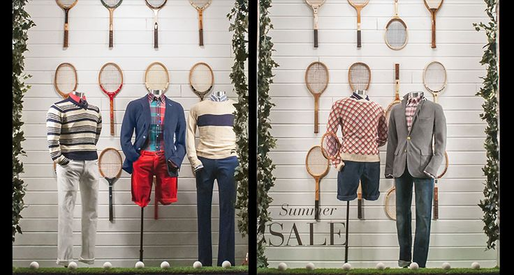 Great summer window display from Gant. Love the tennis rackets and simplicity.