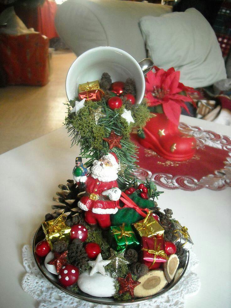 Reutiliza tus viejas tazas y platos para crear un fantástico adorno navideño que puede ser el perfecto centro de mesa para estatemporada!!...