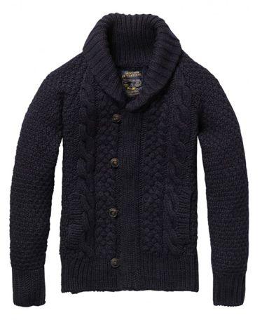 Shawl collar cable knit cardigan by Scotch & Soda