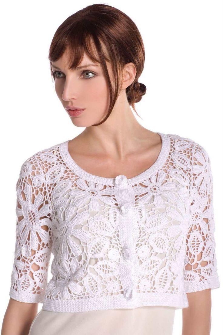 Crochet Motifs Free Patterns | The Irish crochet flower motif is best shown in white and grey tones ...