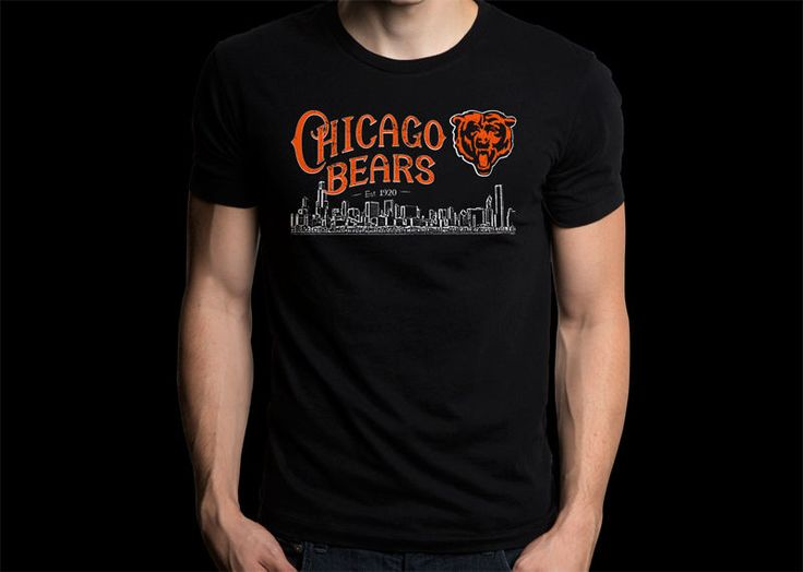 Chicago Bears National Football NFL Black T-shirt #Gildan #PersonalizedTee