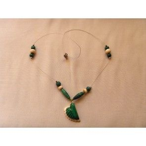 Hand crafted bone & Malachite necklace, 48cm