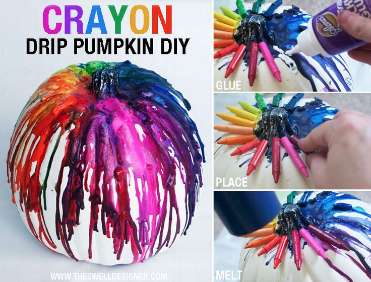 What a fun way to add some creative color to your pumpkin! Try out this crayon drip technique to decorate your pumpkin