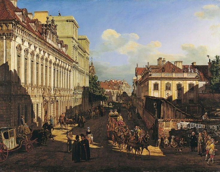 Miodowa Street, Warsaw, 1777, showing artist's almost-photographic precision (detail) by Bernardo Bellotto
