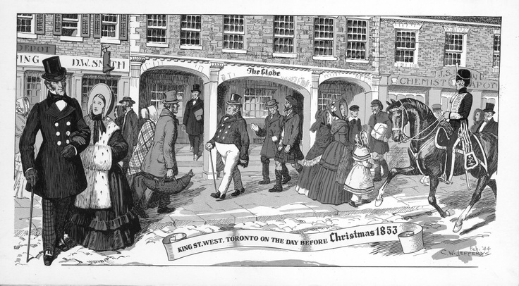 """Commemorating the first issue of the newspaper the Globe as a daily (October 1, 1853), the scene on the front of this card was drawn by renowned historical artist C.W. Jefferys """"depicts, with great attention to authenticity, the passerby who might be encountered on King Street in this period. George Brown, founder of The Globe, may be seen emerging from his offices with the morning's copy of his newspaper under his arm."""""""