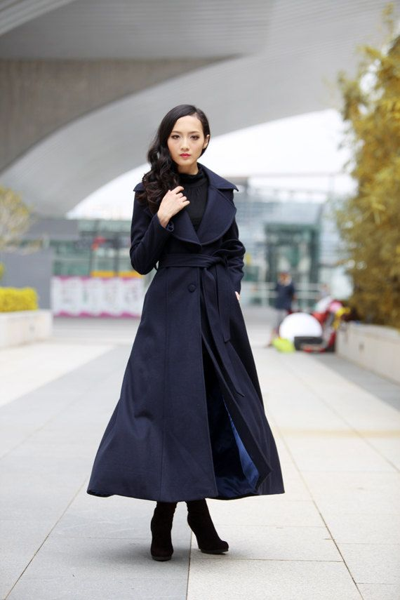 Navy blue Coat Big Lapel Women Wool Winter Coat by Sophiaclothing, $229.99