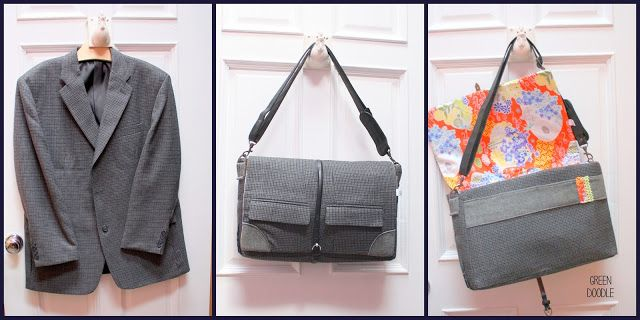 Old Suit: New Bag {a tutorial} - So You Think You're Crafty -- Laptop satchel.  Instructions are a bit complicated -- intermediate sewing skills.