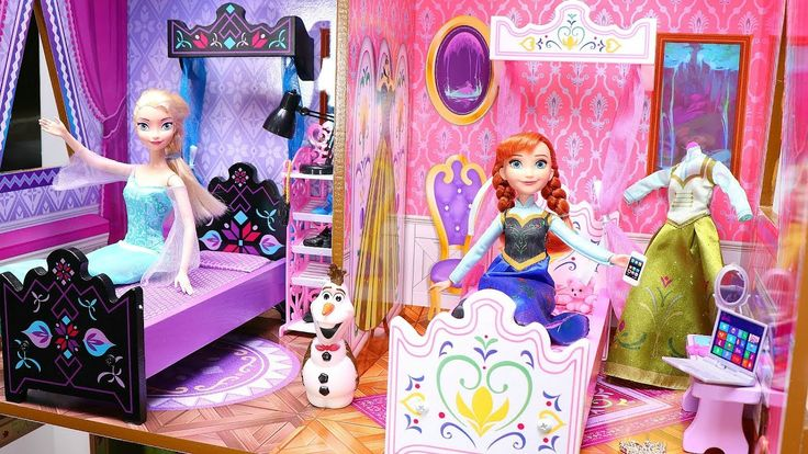 Barbie Doll Bedroom for Disney Elsa & Anna! Baby doll Frozen dollhouse w...