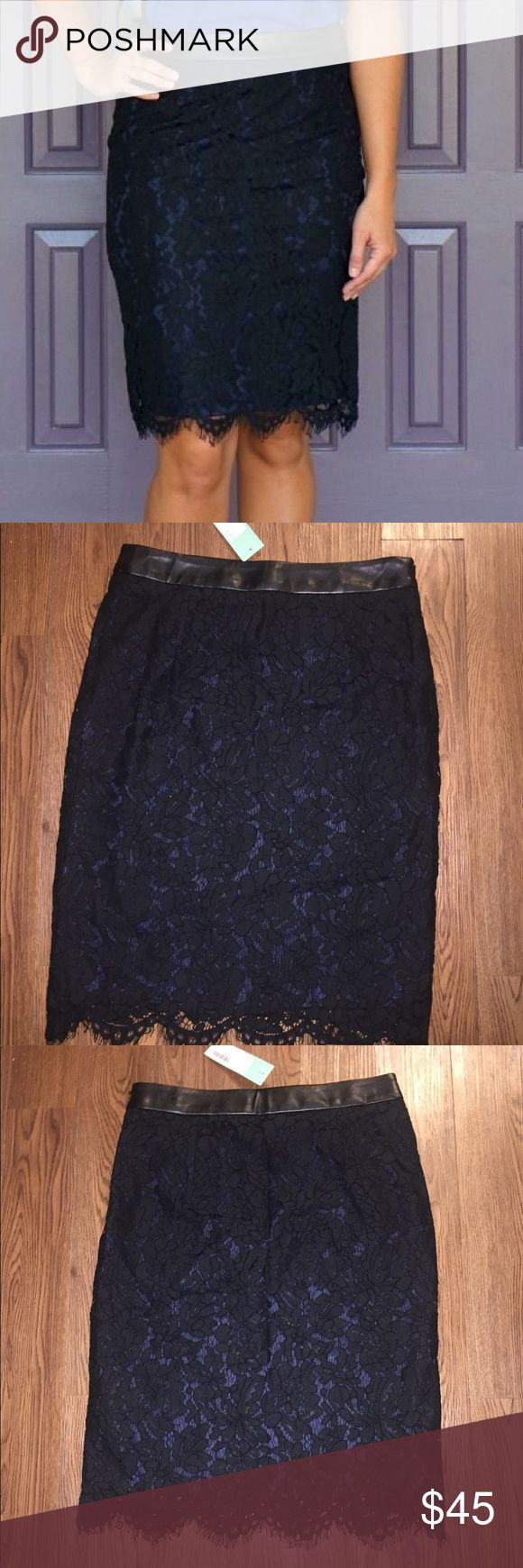 NWT Stitch Fix Briton Ivy Cyndi Lace Pencil Skirt Stitch Fix Brixon Ivy Black Pencil Skirt, NWT, Size Small, Black lace overlay navy pencil skirt in perfect condition! Brixon Ivy Skirts Pencil