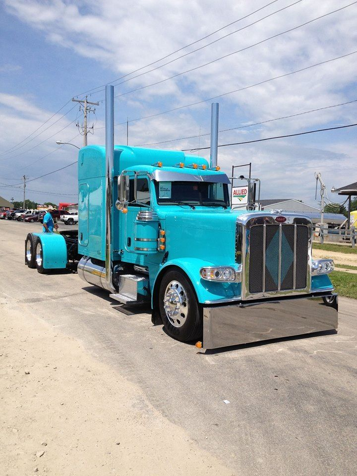 Baby blue Peterbilt - We repair used trailers in any condition. Contact USTrailer and let us repair your trailer. Click to http://USTrailer.com or Call 816-795-8484
