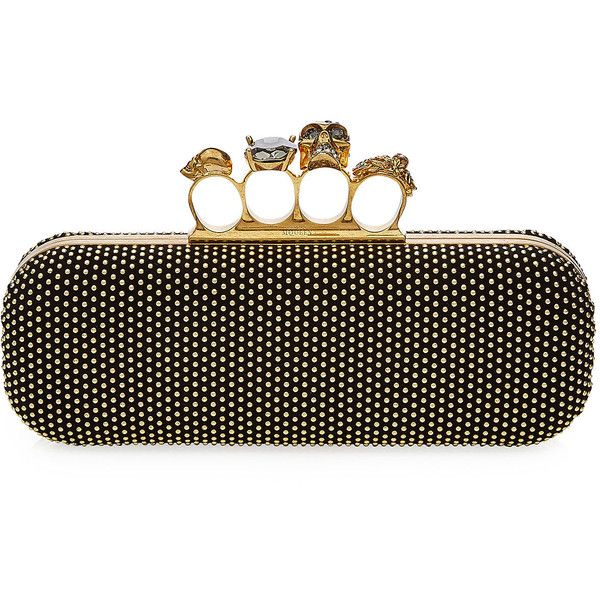 Alexander McQueen Brass Knuckles Clutch (60,200 THB) via Polyvore featuring bags, handbags, clutches, gold, skull purse, skull box clutch, leather handbags, leather purses и genuine leather handbags