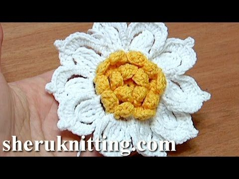 Crochet Flower with Ruffled Center and 10 Petals How-To Tutorial 31 - YouTube
