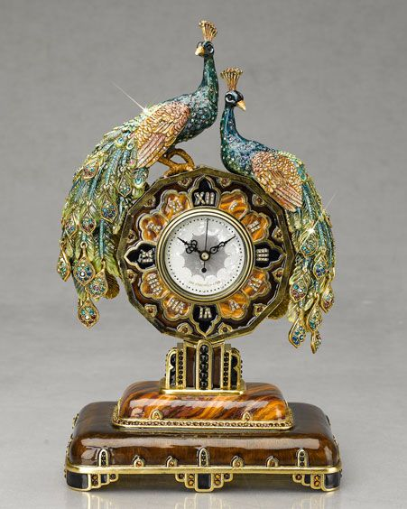"Jay Strongwater 13"" Peacock clock created for the 100th Anniversary of Neiman Marcus"