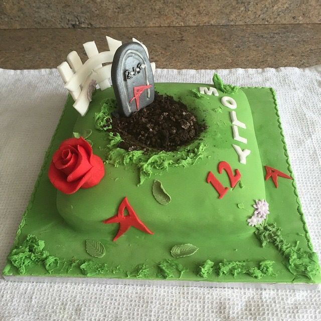My daughters pretty little liars themed birthday cake I used Oreo biscuits crushed up as soil