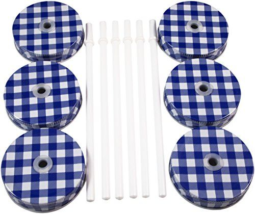 Metal Mason Jar Lids and Plastic Mason Jar Straws Set, Convert Standard Mason Jar to Drinking Glass (6 Pack), Blue & White Plaid Lids with White Solid Straws Cornucopia Brands http://www.amazon.com/dp/B01B6DJHGW/ref=cm_sw_r_pi_dp_hBF3wb1C0QXTP