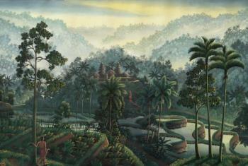 Ni Gusti Agung Galuh - Balinees landschap met Hindoe tempel