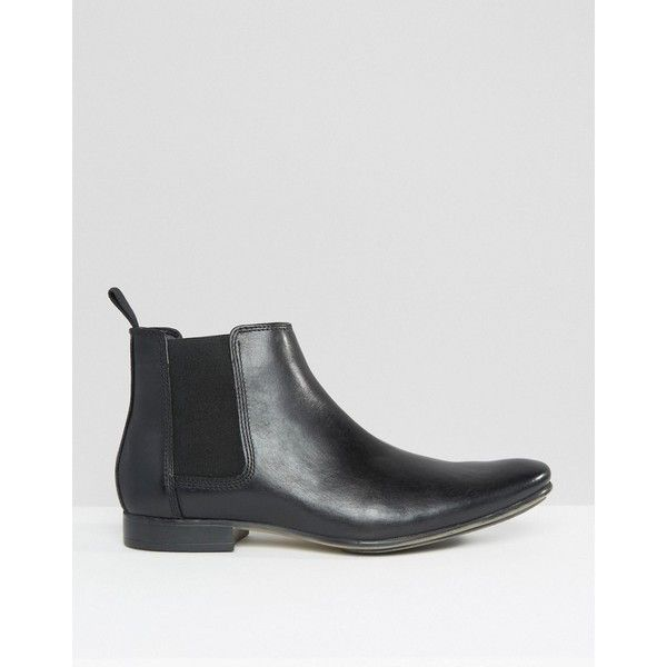 Frank Wright Leather Chelsea Boots ($72) ❤ liked on Polyvore featuring men's fashion, men's shoes, men's boots, black, mens leather chelsea boots, mens black leather boots, mens black leather shoes, mens black loafers shoes and mens chukka boots