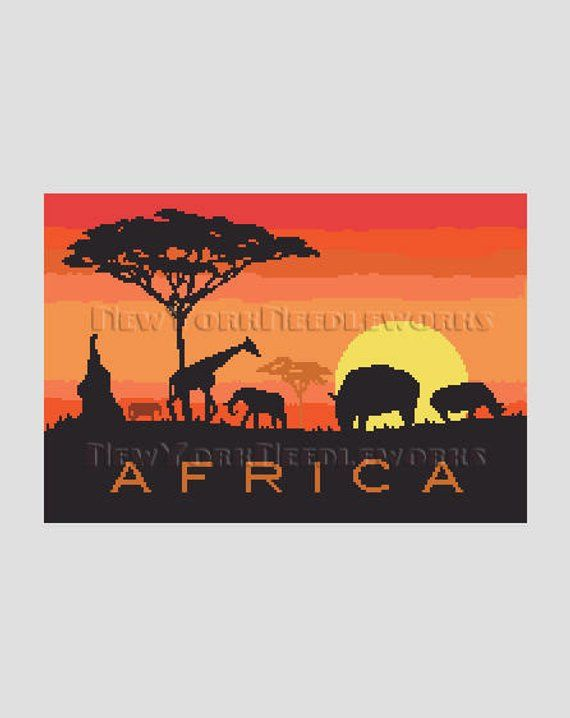Africa Pattern African Cross Stitch Animals Silhouette Pattern