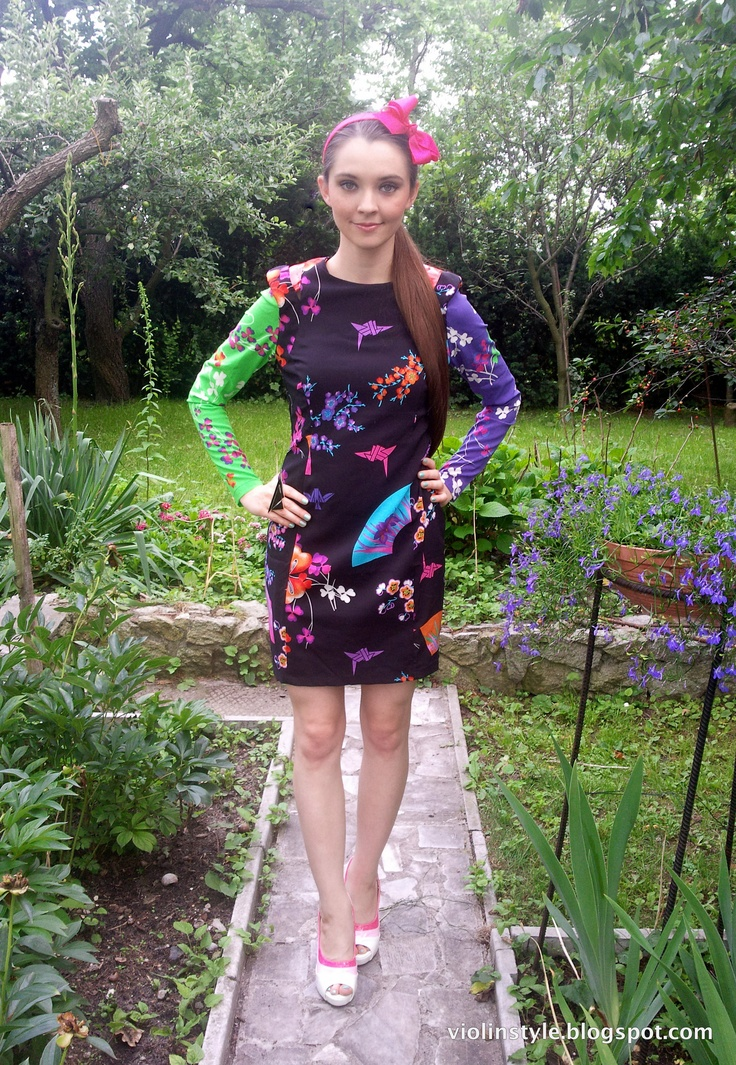 Versace x H dress, floral print dress, SS 2012, neons