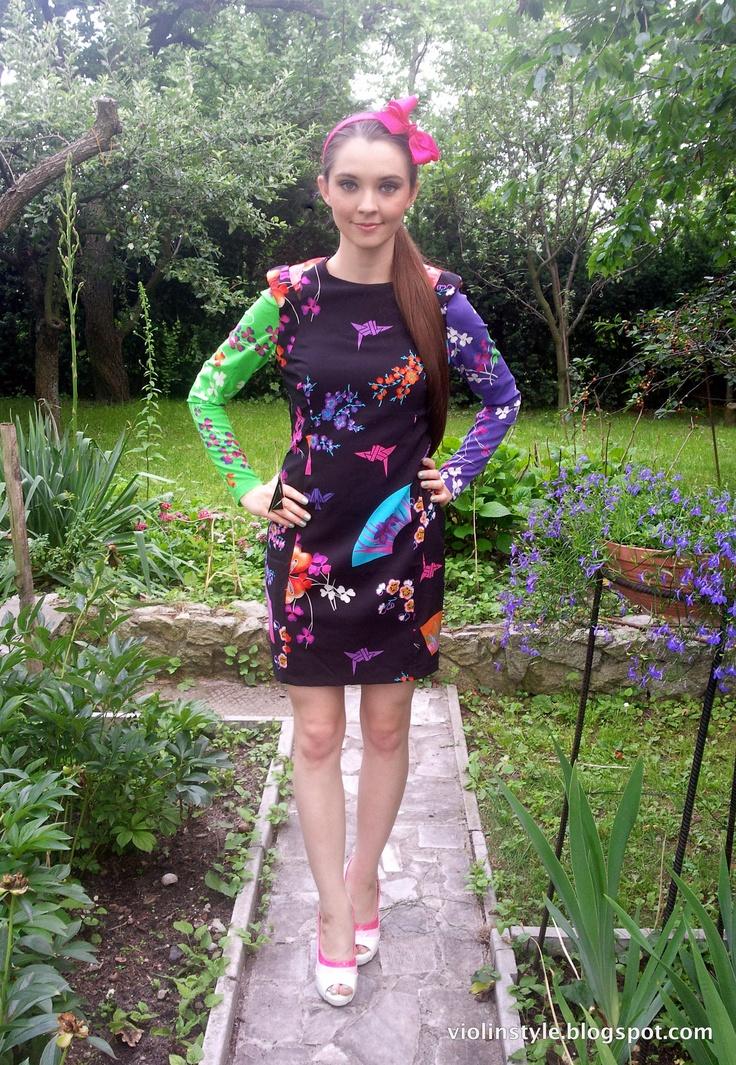 Versace x H dress, floral print dress, SS 2012, neons