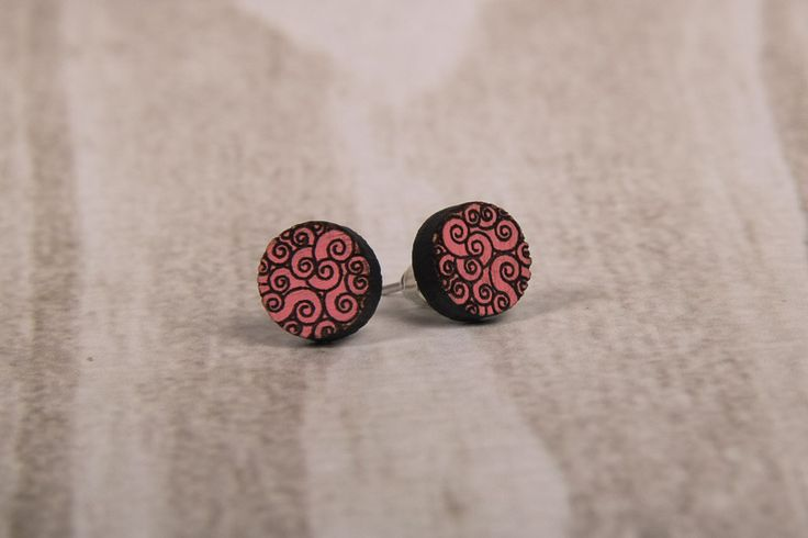 Wooden Laser Cut Pink Swirly Round Earrings made in South Africa
