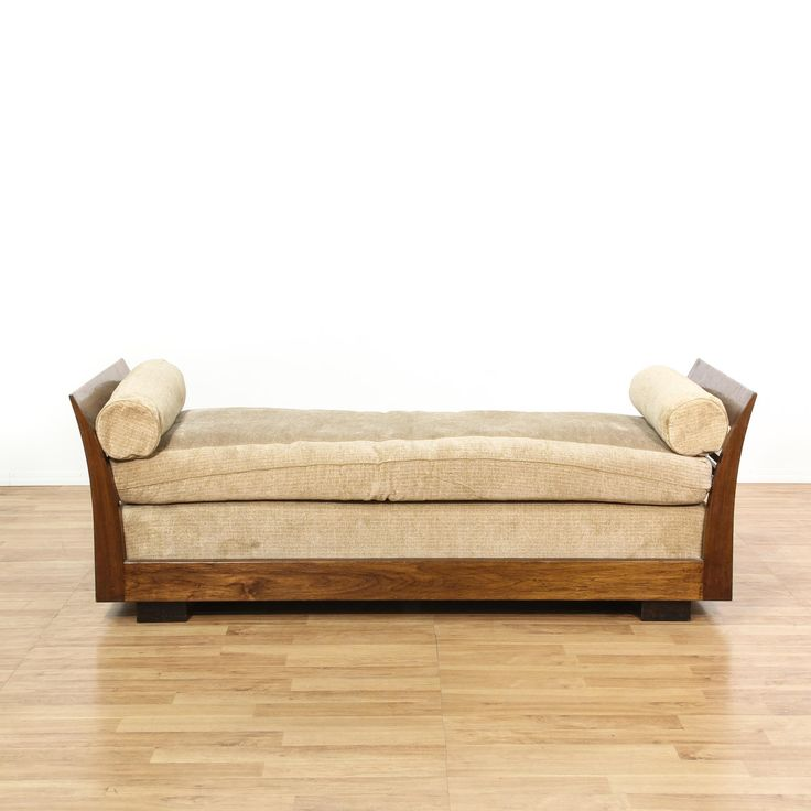This traditional daybed is featured in a solid wood with a glossy walnut finish. This sofa bench has curved arms, woven beige upholstered cushions and large block feet. Sleek daybed perfect for lounging by a window! #americantraditional #beds #daybed #sandiegovintage #vintagefurniture