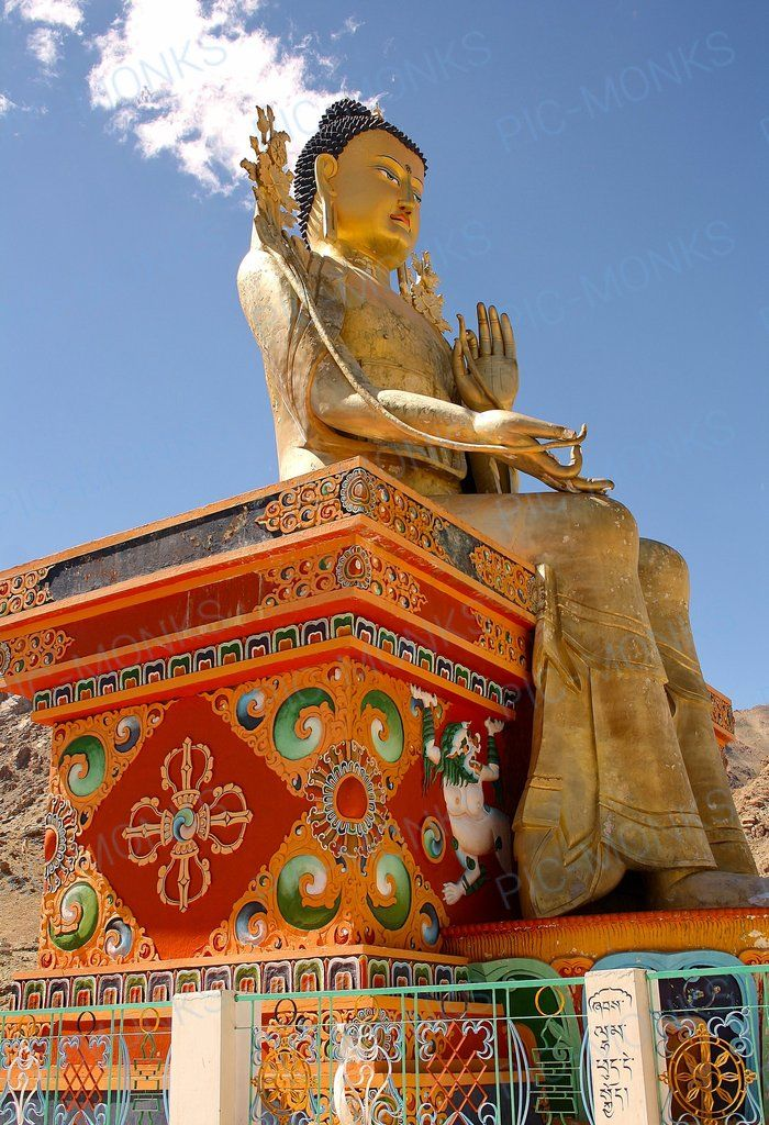 An ornate statue of Buddha, the sage on whose teachings Buddhism was founded. This 75 foot tall statue is placed at the Likir Monastery at Ladakh, India