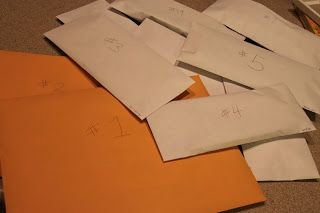 Keeping Kids Busy on a Long Flight - envelopes with activities they can open 1 every hour