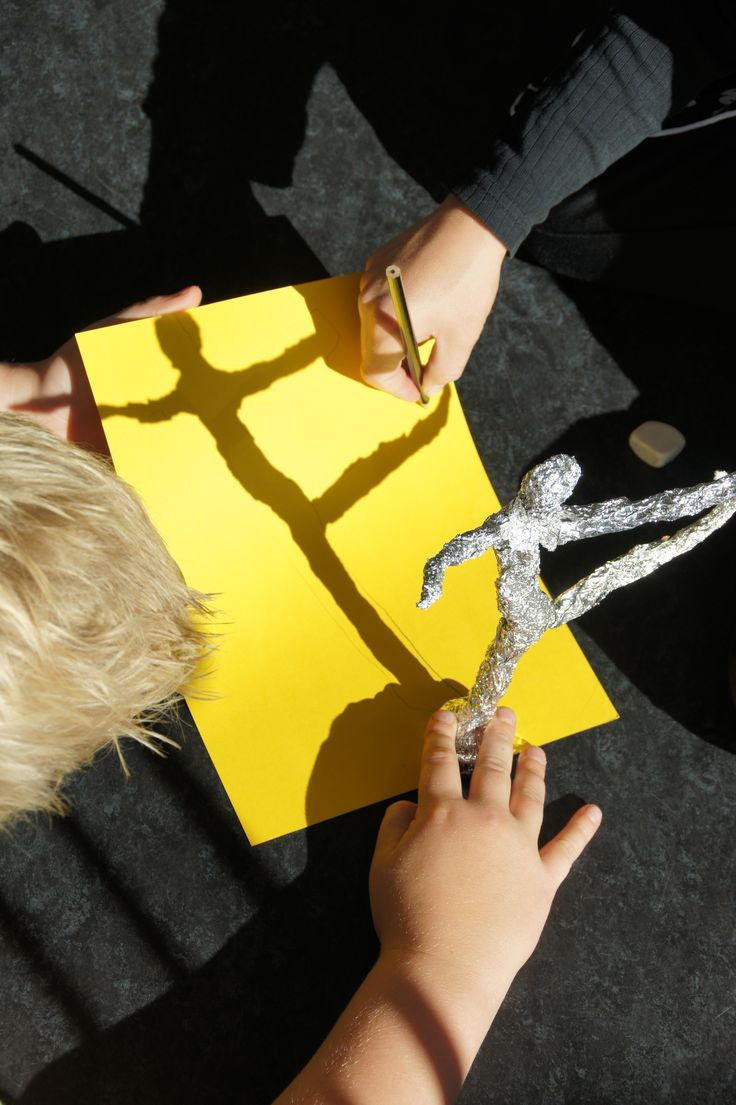 Trace the shadow of your sculpture -  foil figure.  Gloucestershire Resource Centre http://www.grcltd.org/scrapstore/