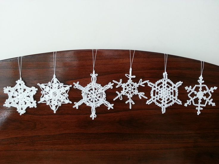 6 White Crochet Christmas Decorations Snowflake Ornaments Wall Hanging Modern Wall Art Baby Mobile Parts Home Decor via DoSymphony. Click on the image to see more!