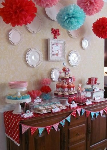 Super adorable red, aqua & pink Hello Kitty party theme by dolores
