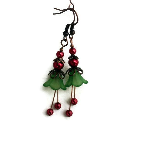 Christmas Earrings Lucite Flower  Vintage by TheFamilyJewelsWI, $12.00