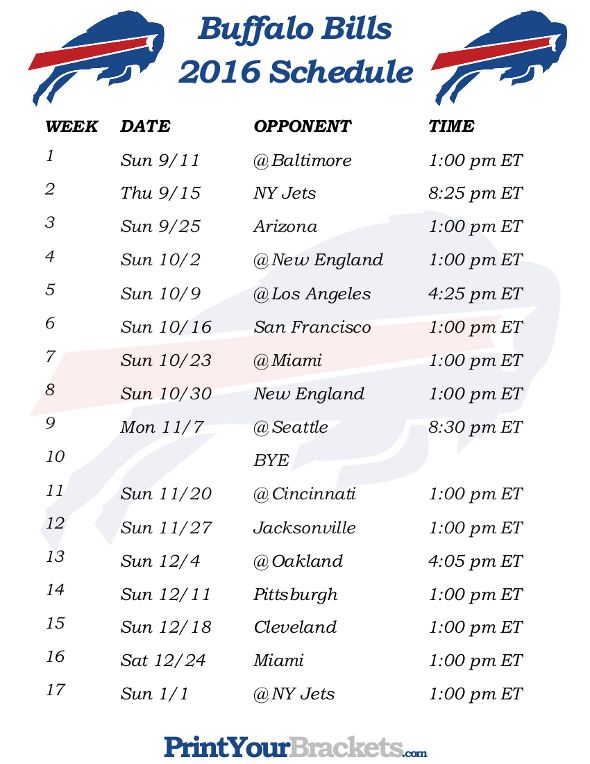 Printable Buffalo Bills Schedule - 2016 Football Season