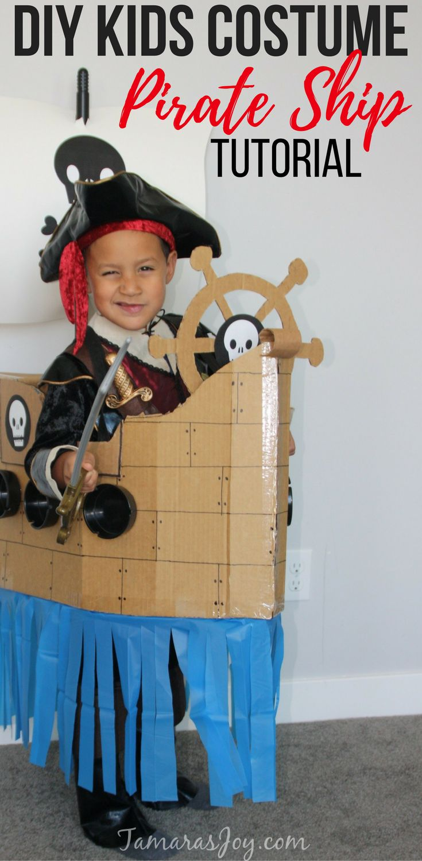DIY Boys Kids Costume. It's a pirate ship made from Cardboard! TamarasJoy.com