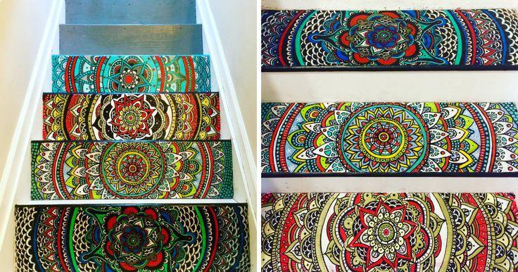 Virei a Escadas de perfuração em uma mandala colorida | Panda Bored
