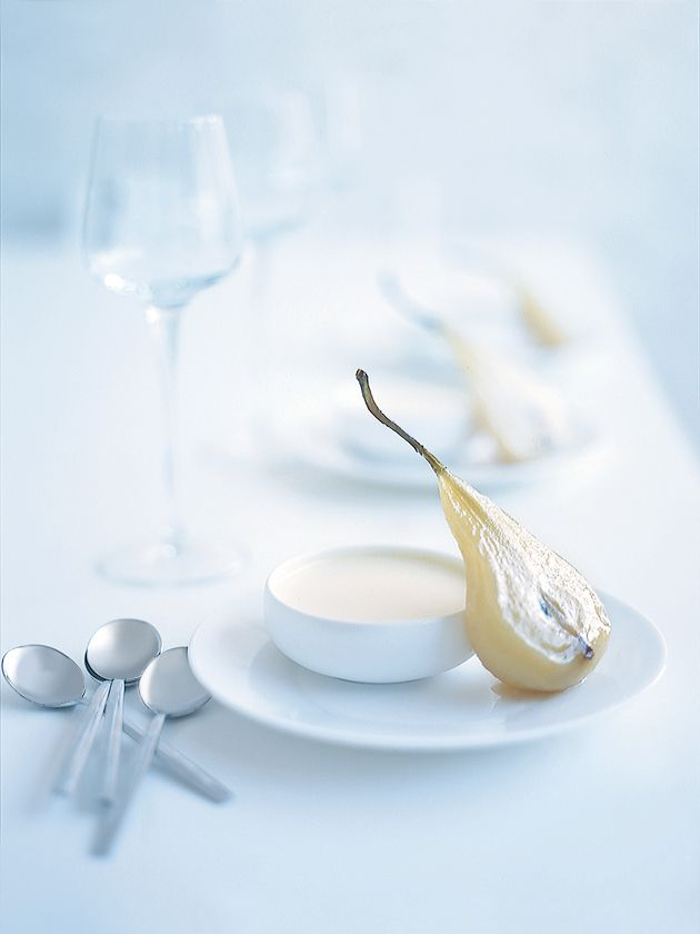 white chocolate panna cotta and dessert wine poached pear.