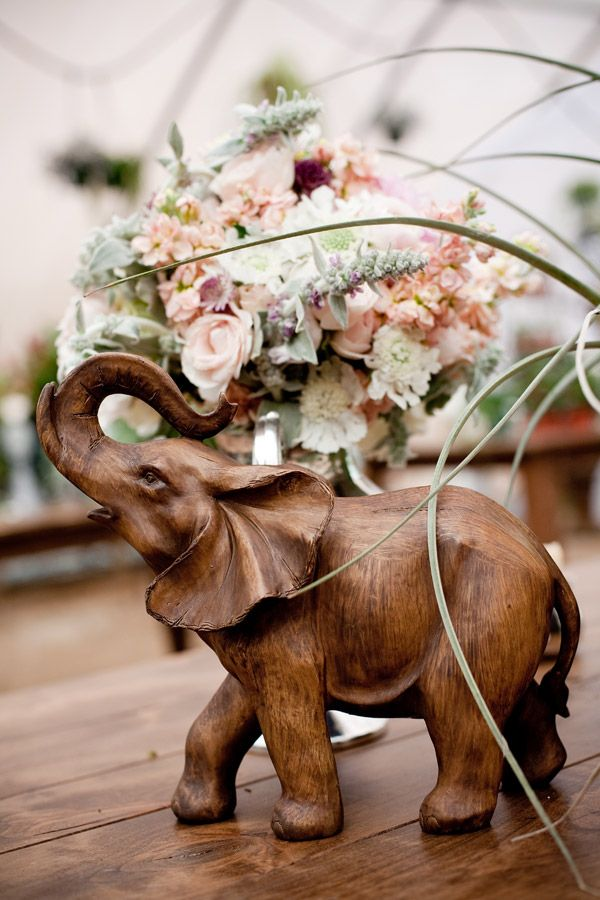 Vintage World Wedding elephant decor                                                                                                                                                                                 More